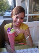 Breanna enjoying her apple berry mocktail at Cookie.