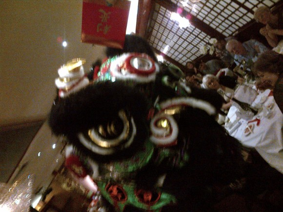 Chinese New Year Lion. There are 2 people in here and they can stand on top of each other to create a tower!