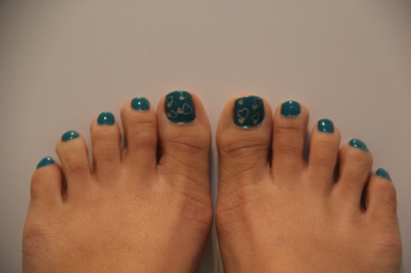 From head to toes with blue and silver hearts!