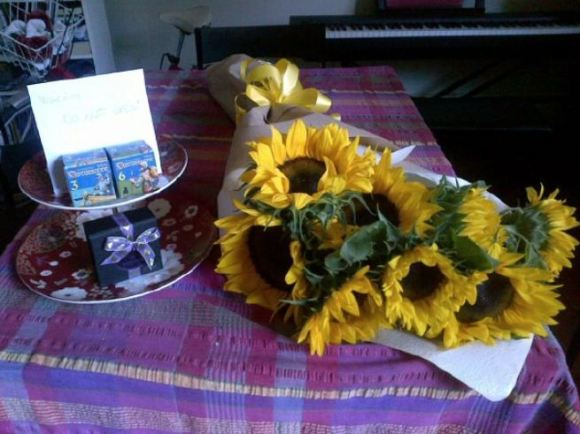 Giant bouquet of sunflowers from my love!