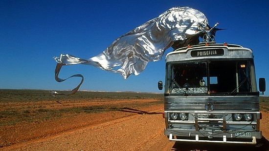 Iconic scene from The Adventures of Priscilla, Queen of the Desert