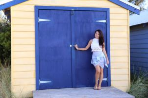 Lisa at the beach huts. Photographer Lien Hang.