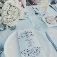 The menus and floral decor I made.
